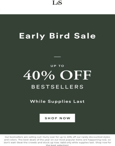 Up to 40% off - Early Bird Sale LAST DAY
